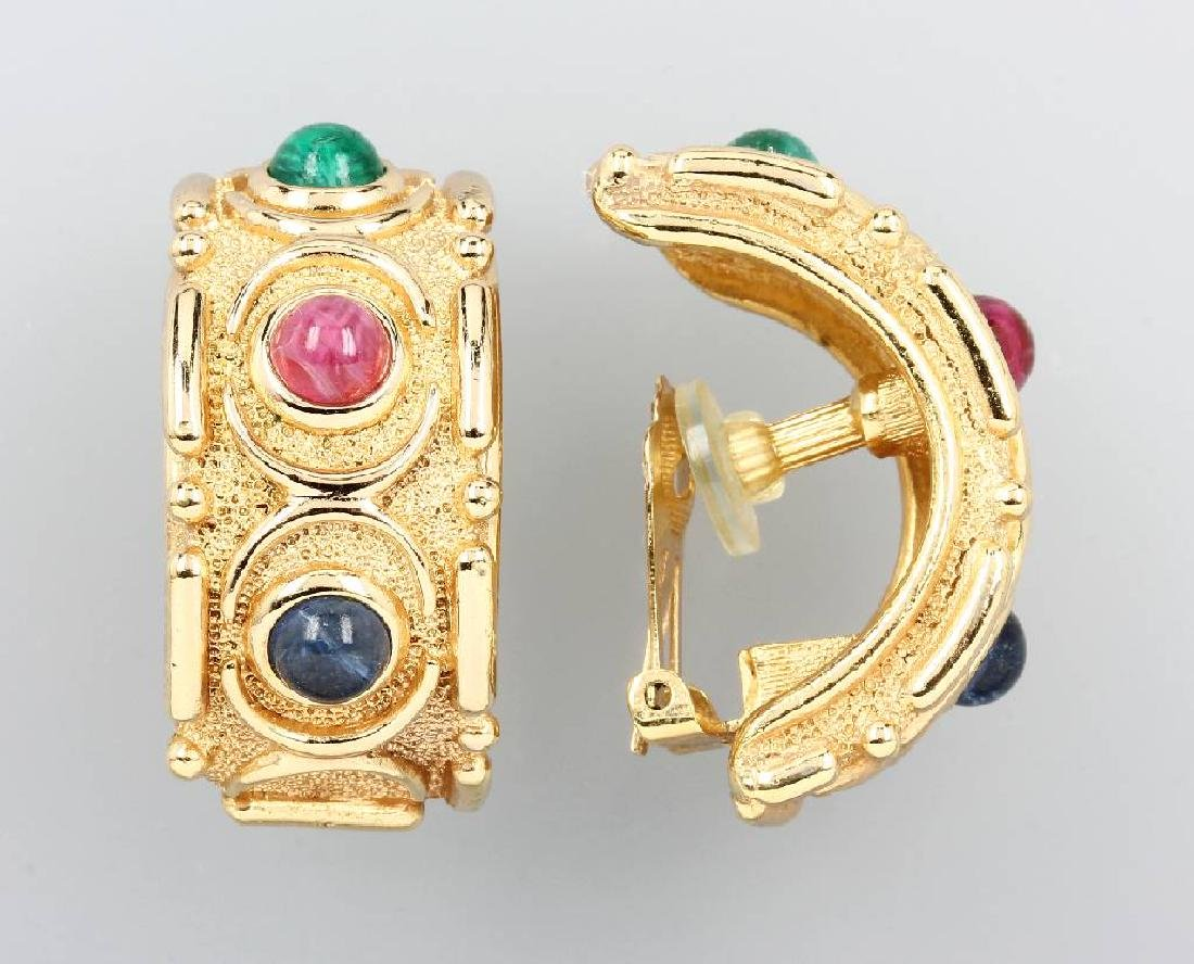 Pair of CHRISTIAN DIOR clip earrings, 1960s