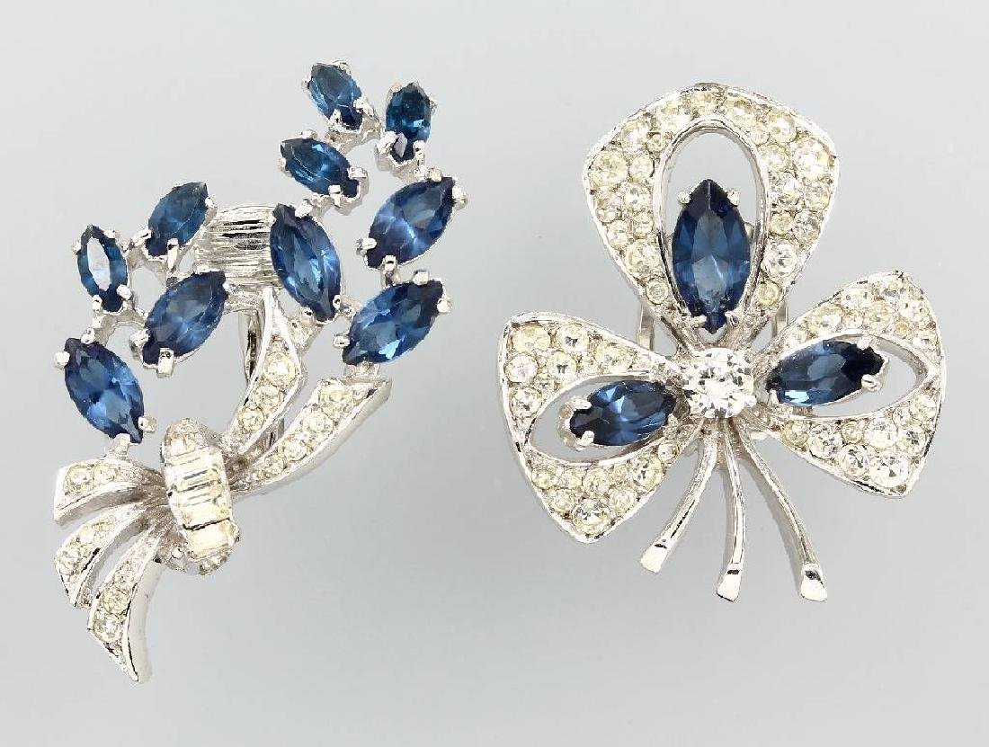 Lot 2 brooches with rhine stones, Sterling