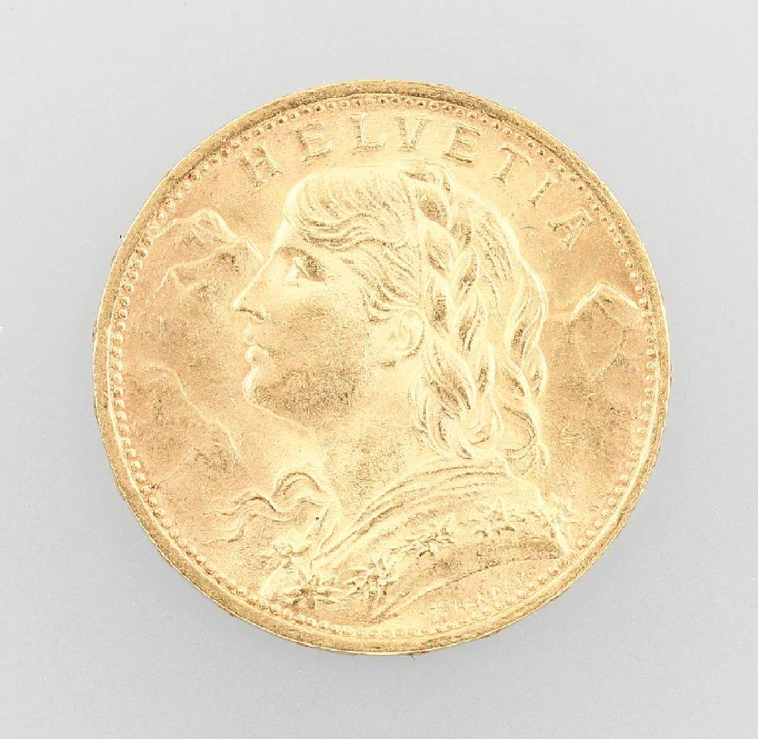 Gold coin, 20 Swiss Francs, Switzerland, 1922