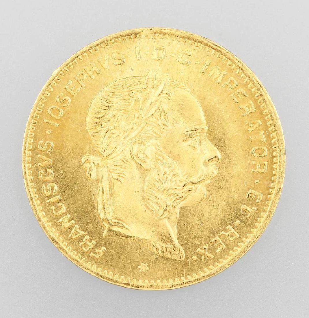 Gold coin, 4 Florin 10 Swiss Francs, Austria- Hungary,