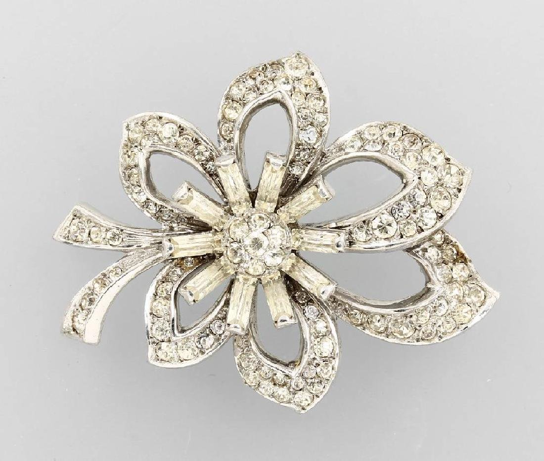 Blossom brooch with rhine stones, Sterling, West