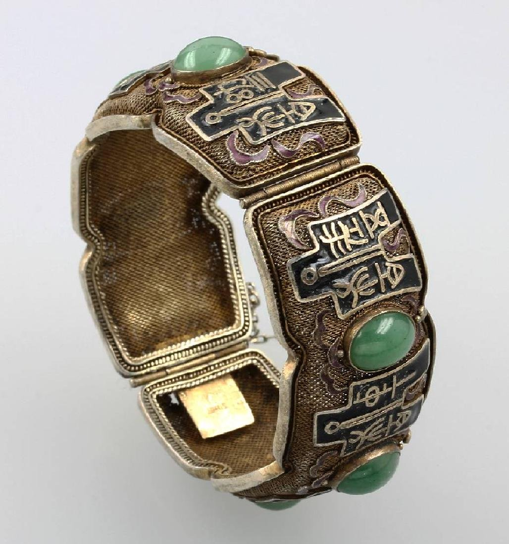 Bangle with jade and enamel