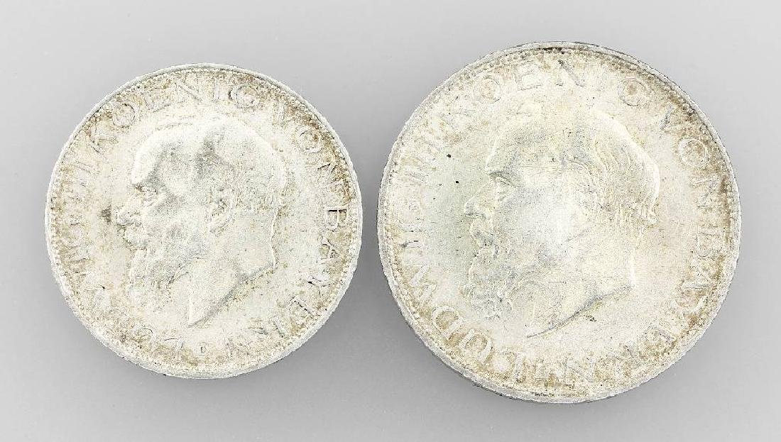 Lot 2 silver coins, Bavaria, 1914