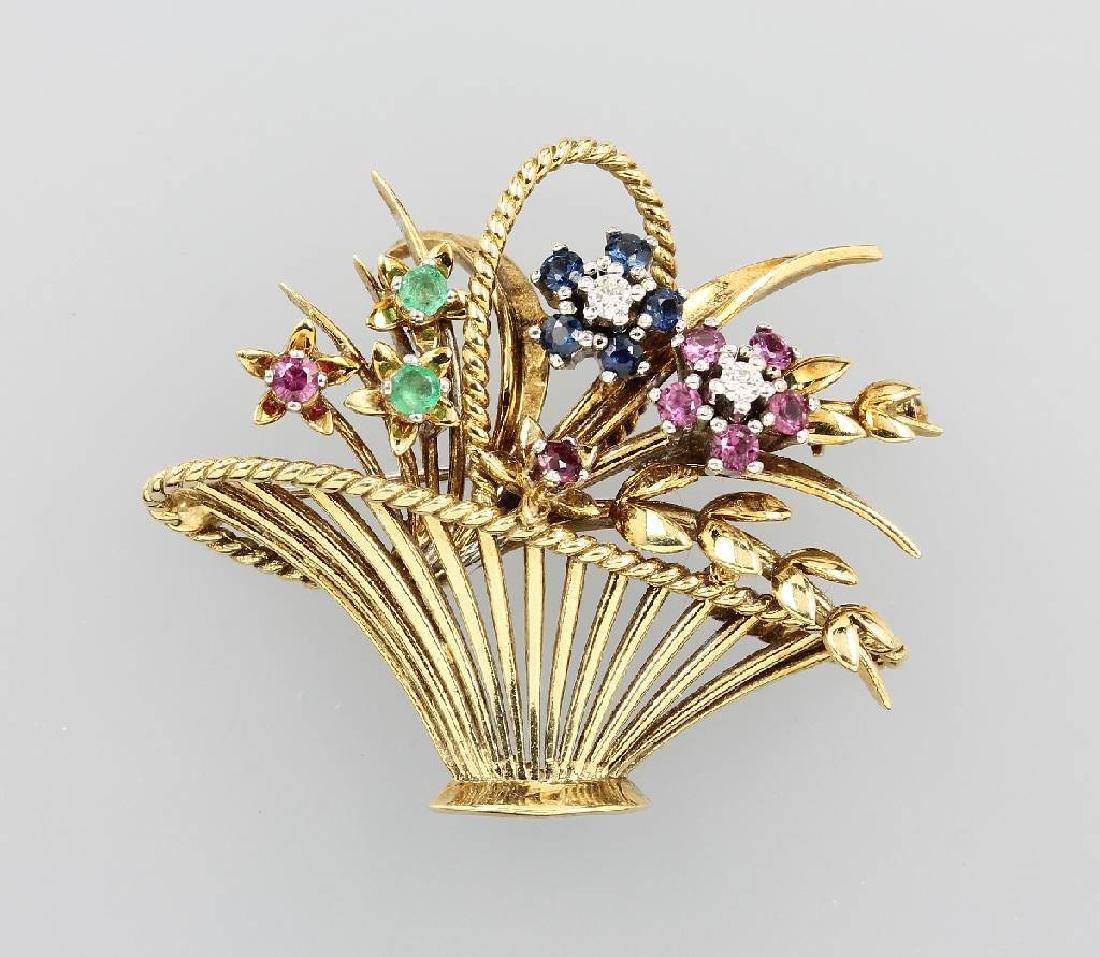 14 kt gold brooch 'flowerbasket' with colouredstones