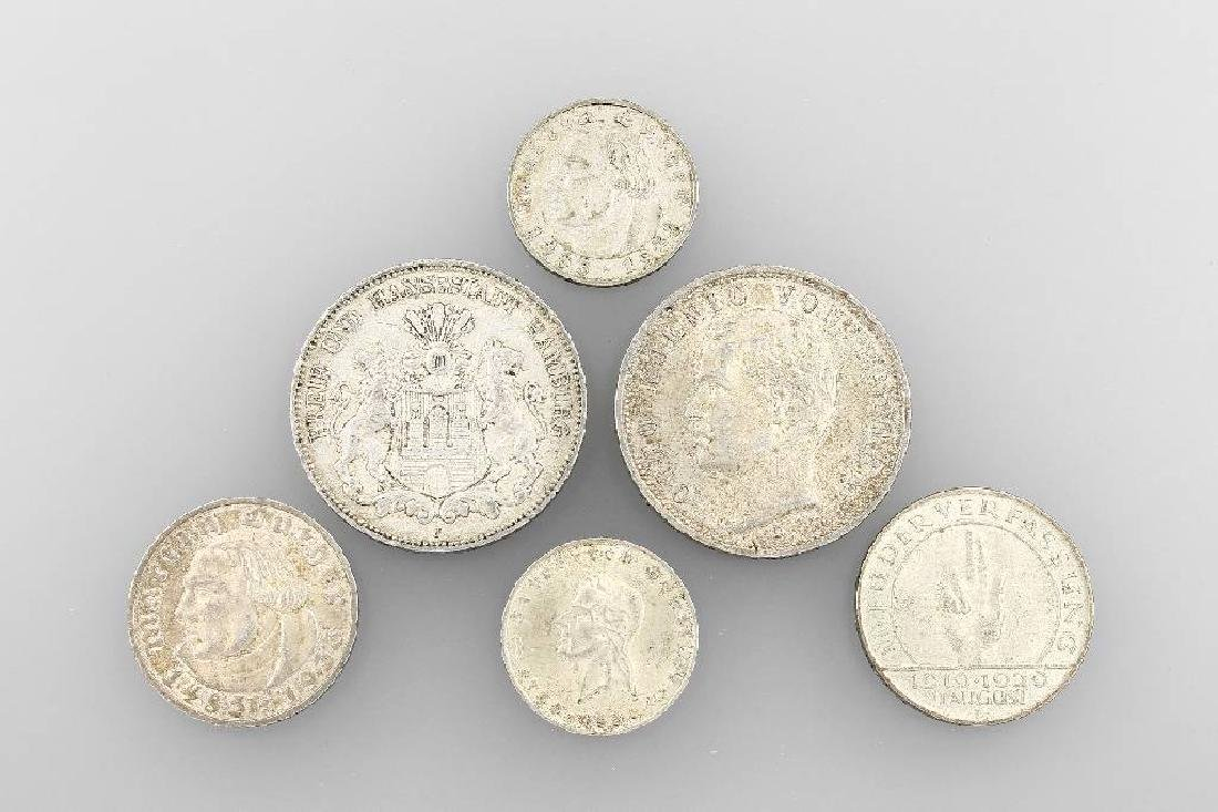 Lot 6 silver coins, Germany, comprised of: 1 x5 Mark,