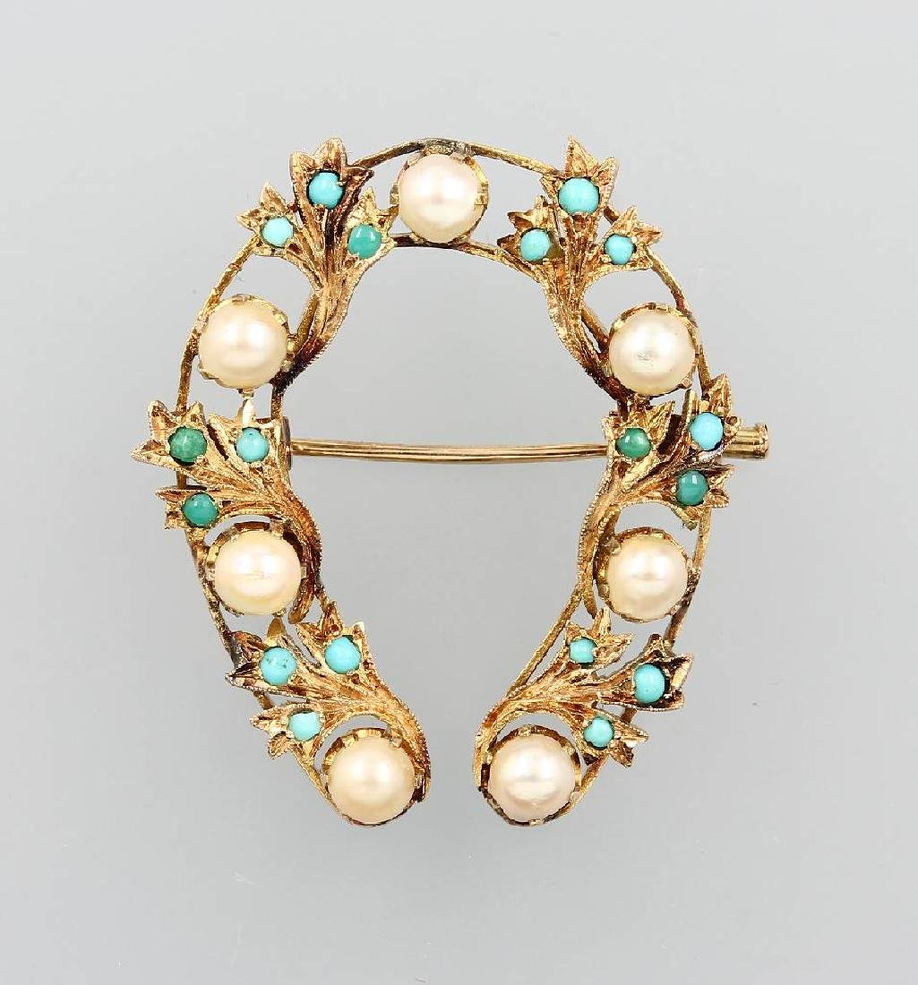 14 kt gold brooch with pearls and turquoises