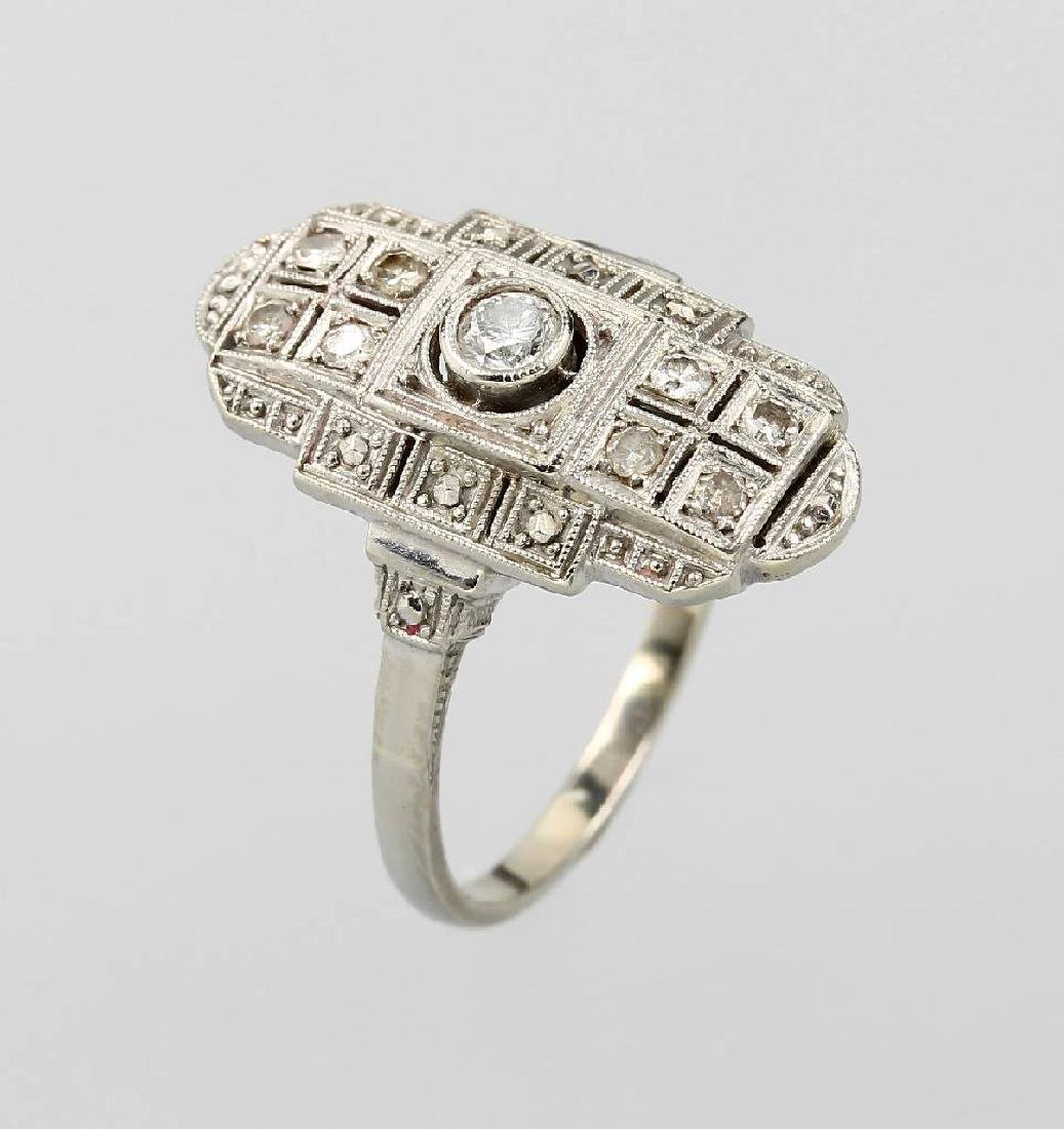 14 kt gold Art-Deco ring with diamonds
