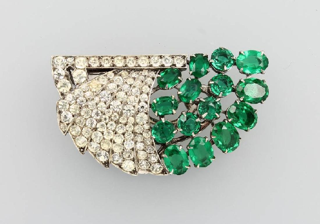 Clip brooch with rhine stones, german approx. 1935/40s