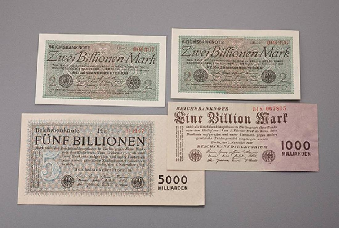 Lot 11 banknotes, German Reich, comprised of: 2 x 2