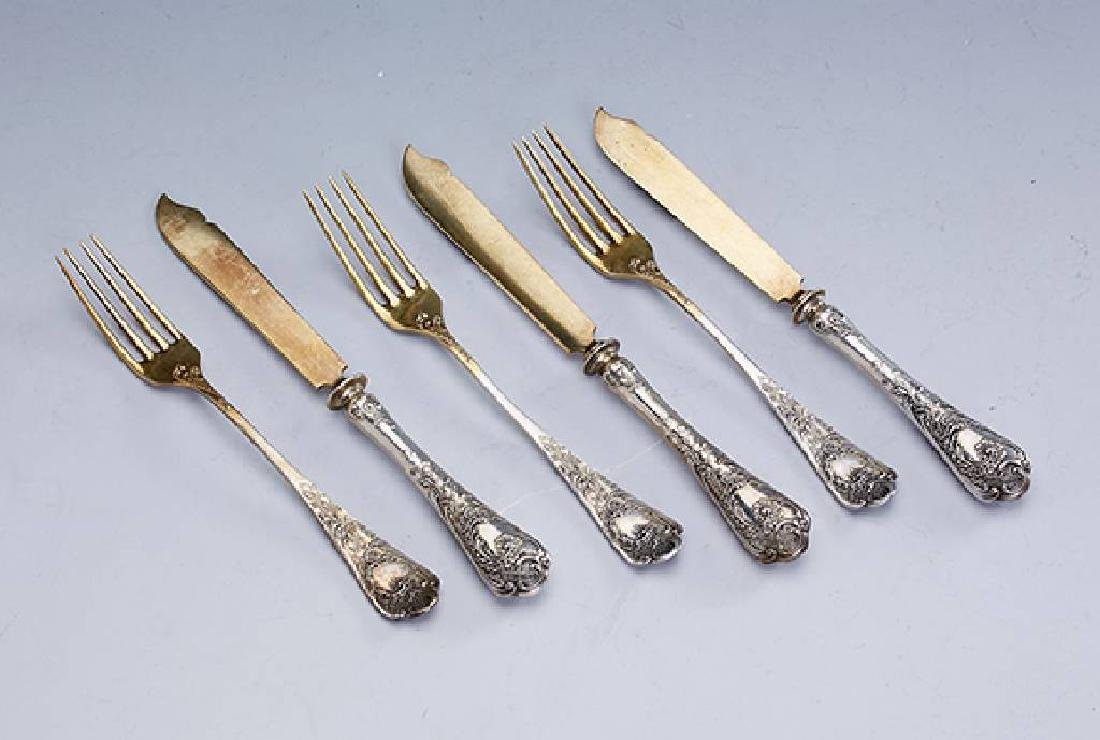 24-pieces fruit cutlery, 800 silver, german approx.
