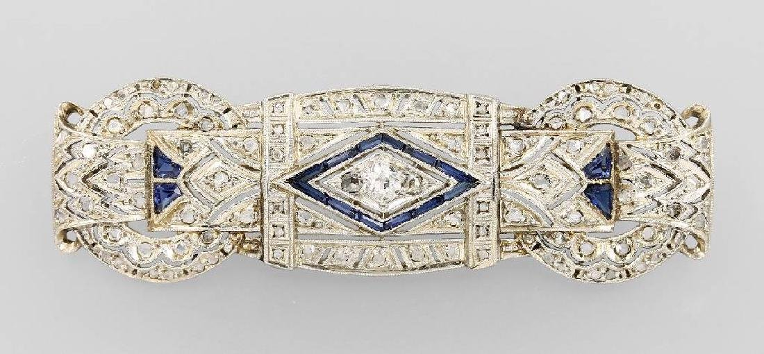 Art-Deco brooch with diamonds and sapphires