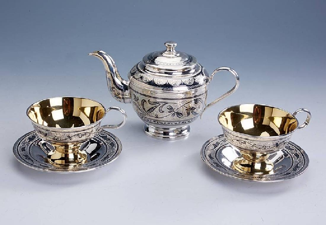 Teaset for 2 persons, Russia, 875silver