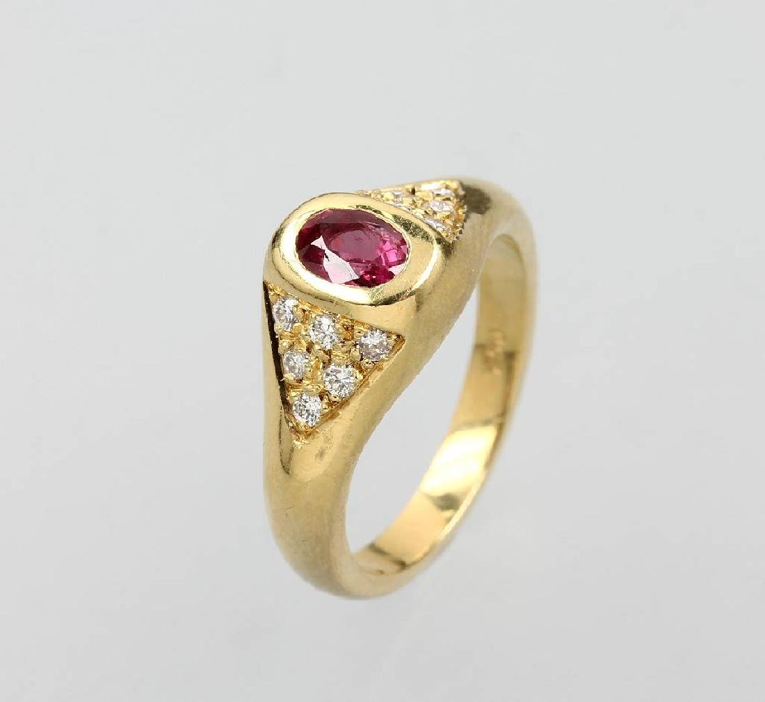18 kt gold ring with ruby and brilliants