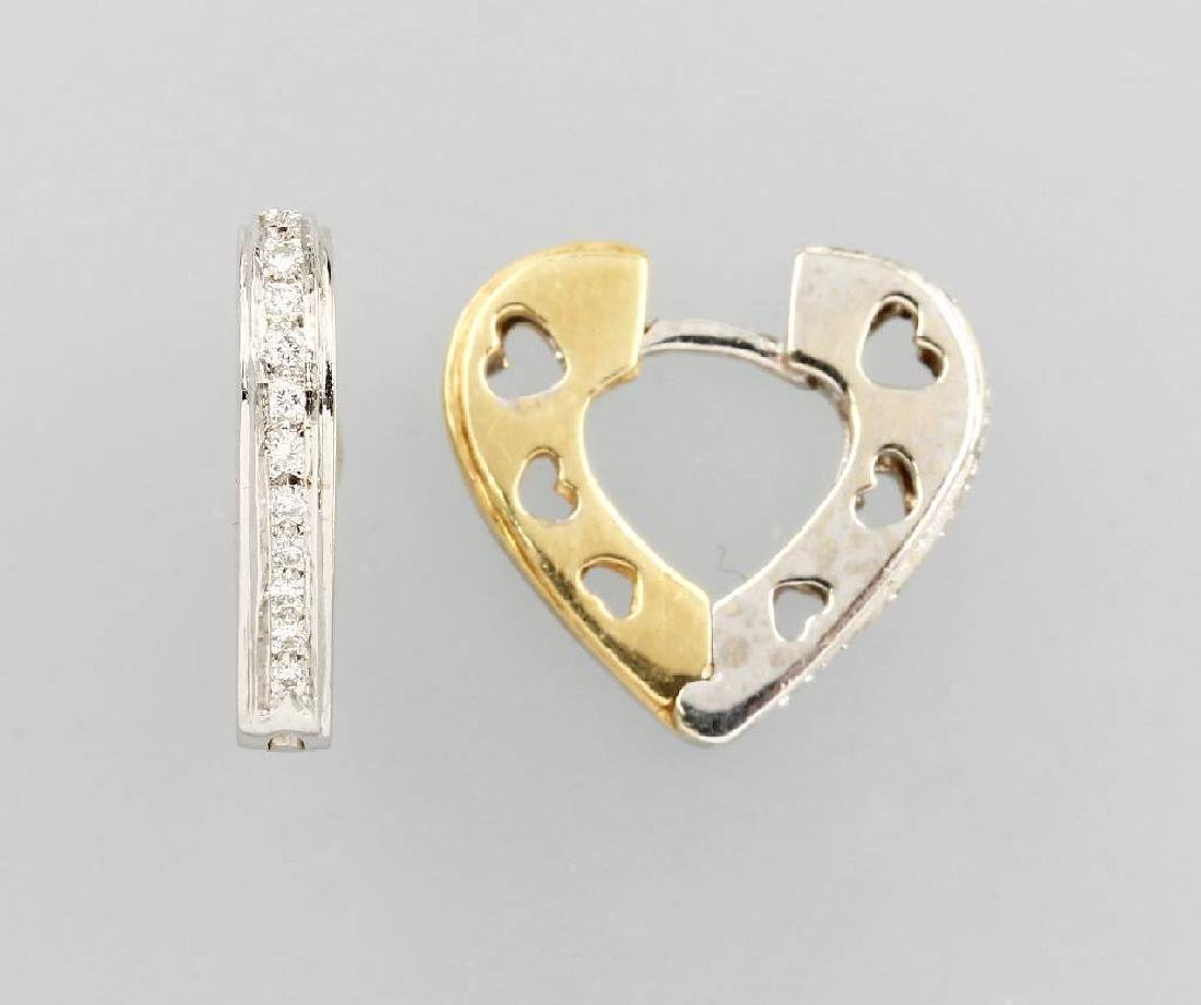 Pair of 14 kt gold earrings 'hearts'