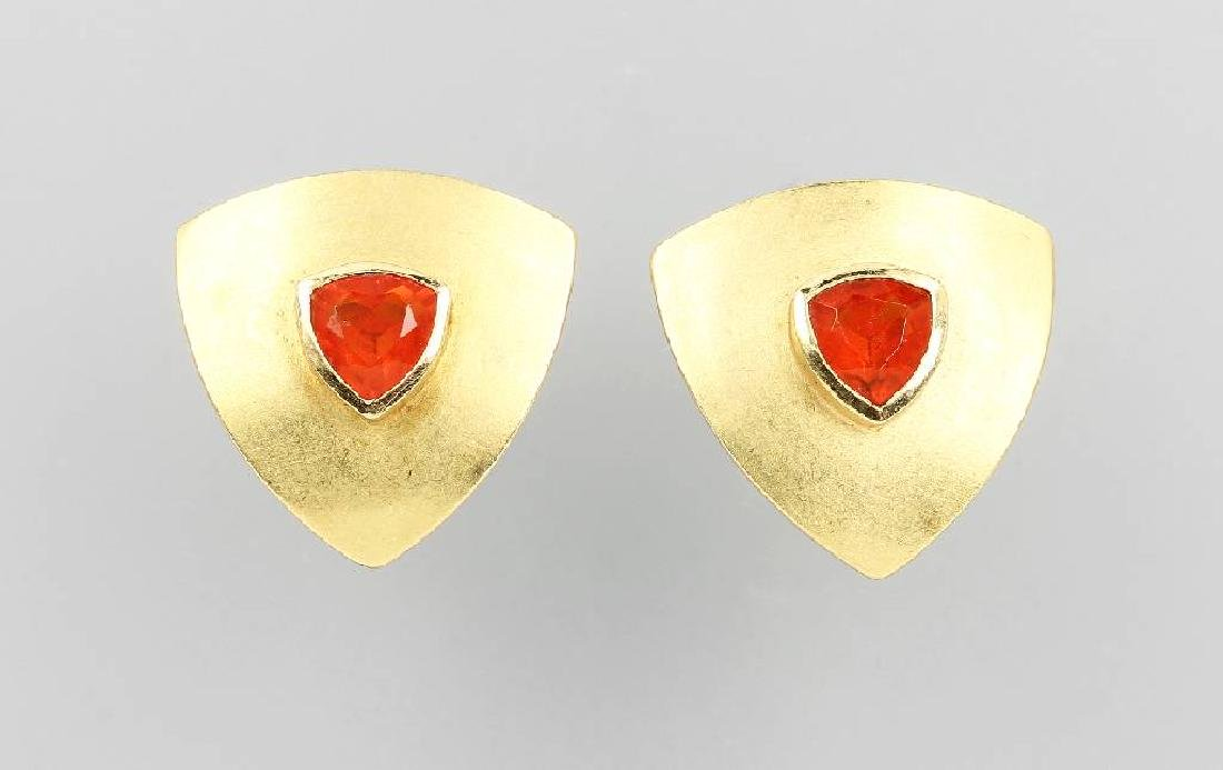 Pair of designer earrings with fire opal