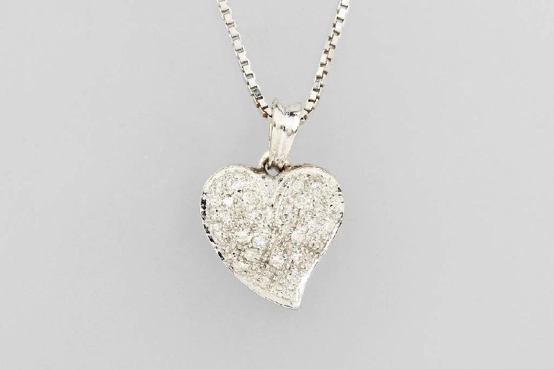 14 kt gold heartpendant with diamonds