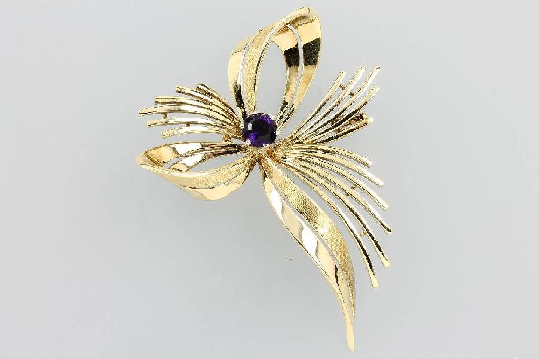14 kt gold ribbon brooch with amethyst