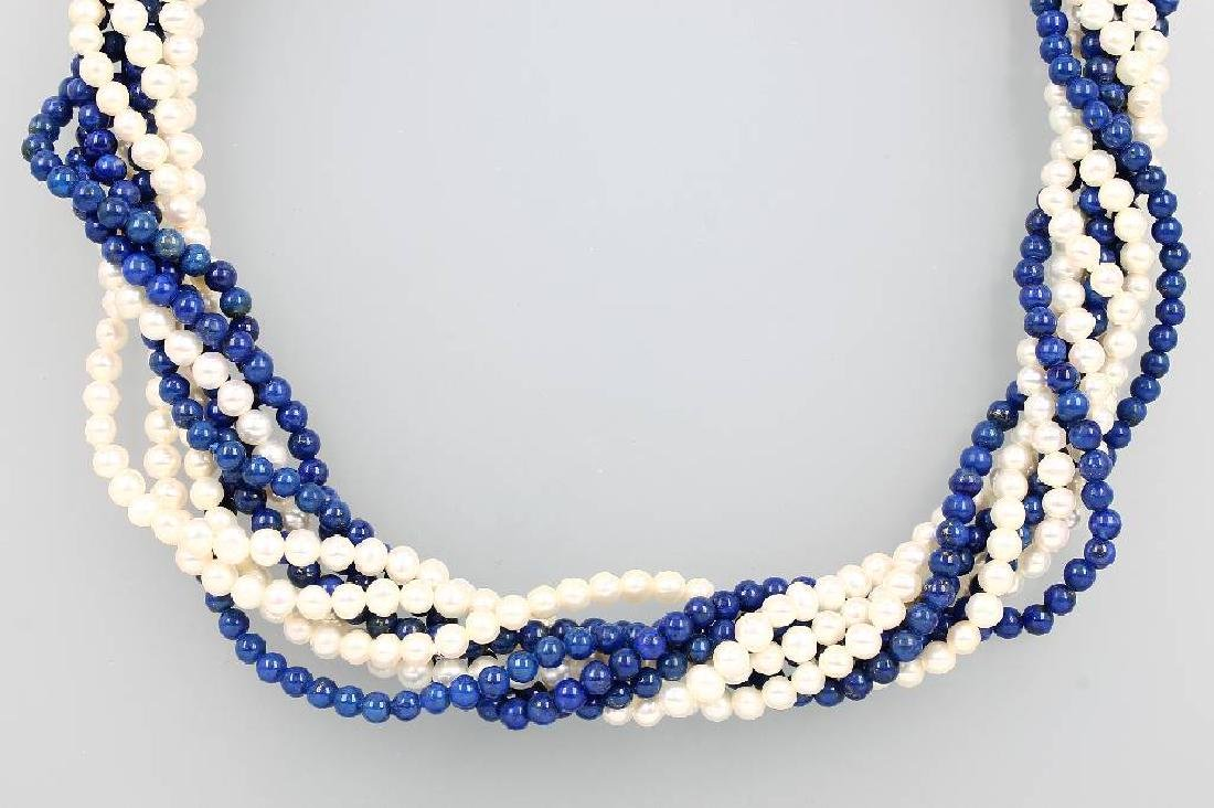 4-row necklace with lapis lazuli and cultured pearls
