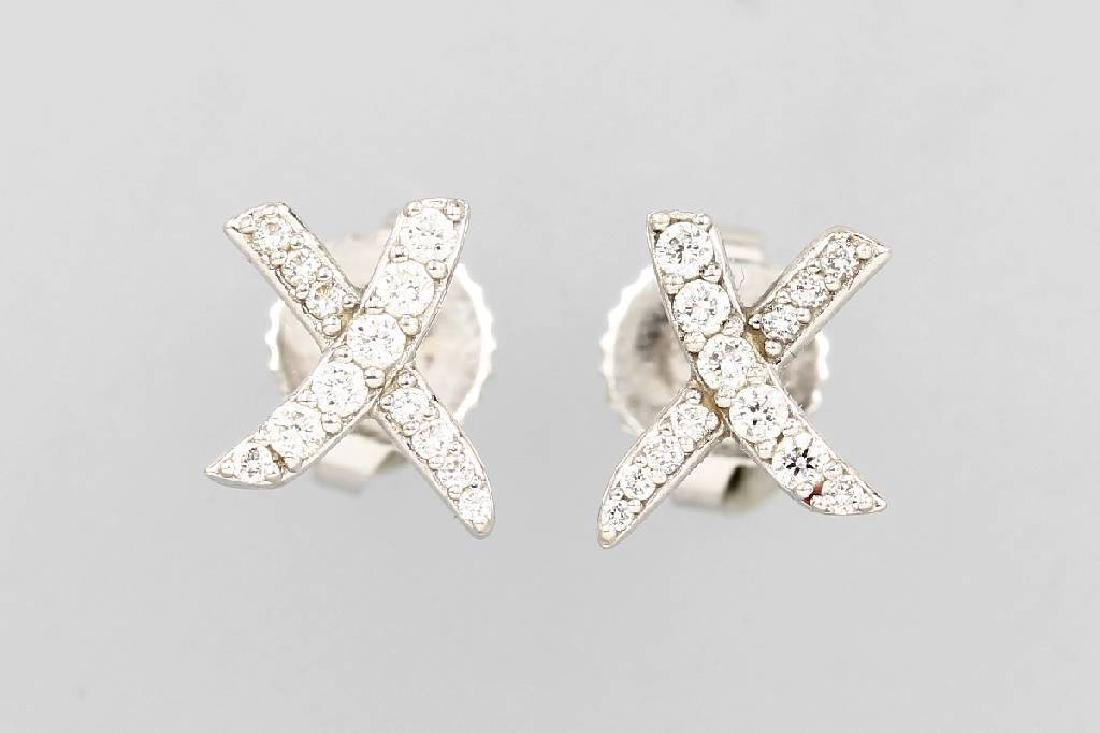 Pair of 18 kt gold TIFFANY&Co. earrings with brilliants