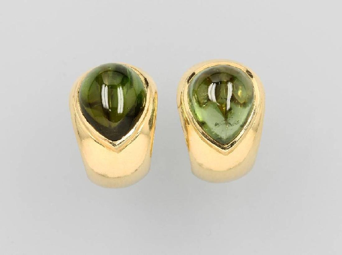 Pair of 18 kt gold earrings with verdelithes