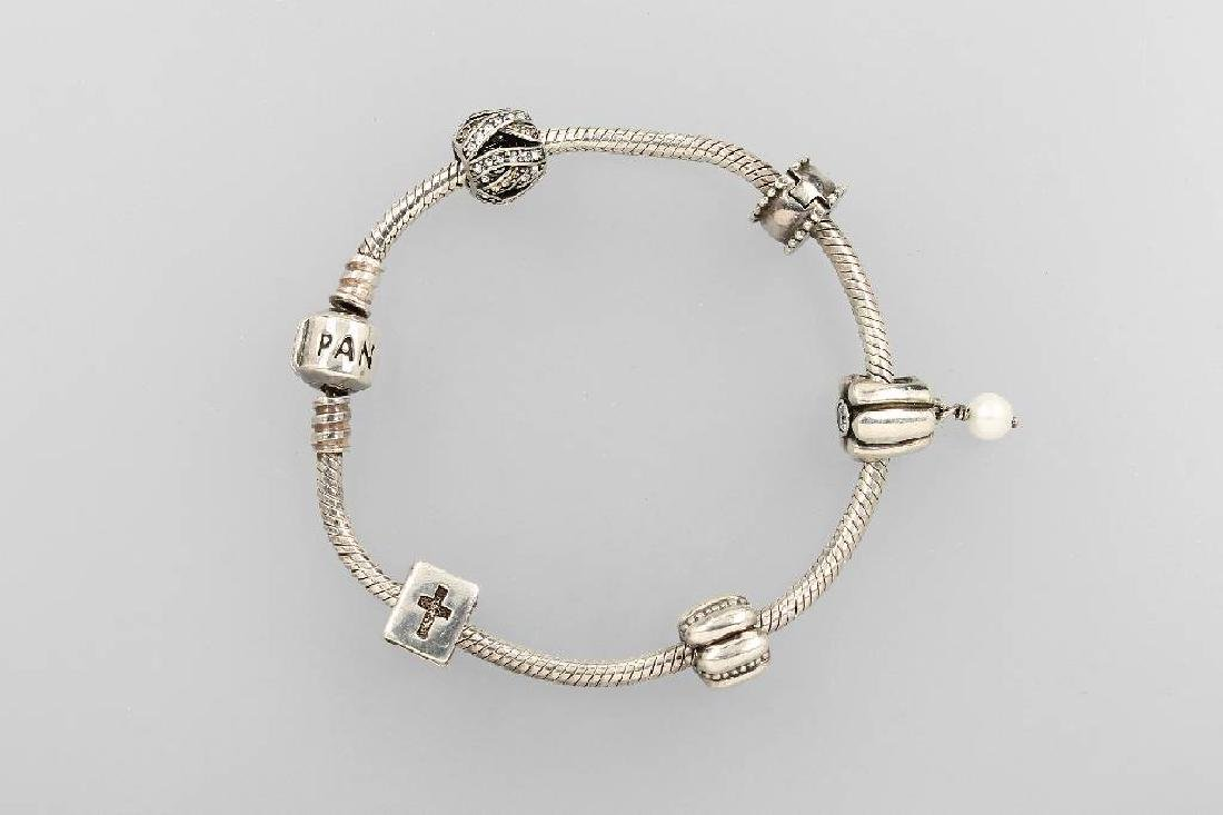 PANDORA bracelet with 5 charms, silver