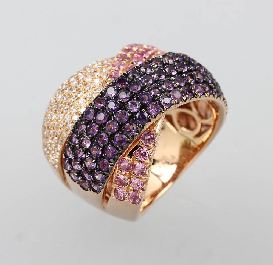 18 kt gold ring with coloured stones and brilliants