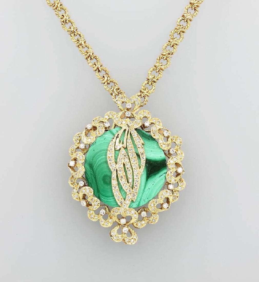 Unusual 18 kt gold necklace with malachite