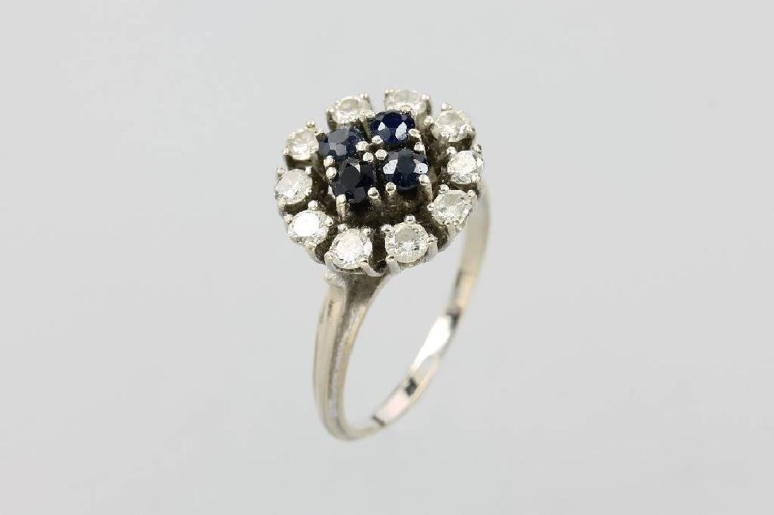 14 kt gold blossom ring with sapphires and diamonds
