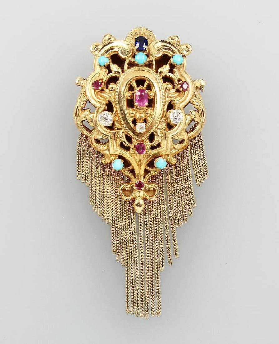 18 kt gold solid pendant/brooch with coloured stones
