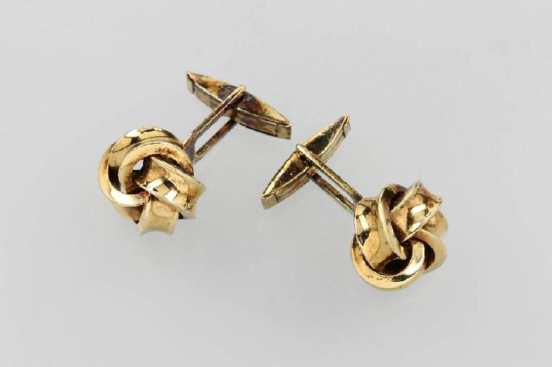 Pair of 14 kt gold cuff links 'node'