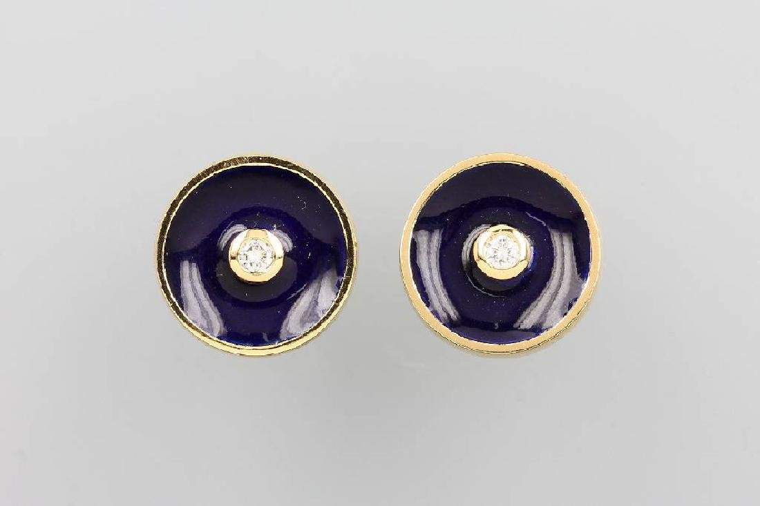 Pair of 18 kt gold earrings with brilliants and blue