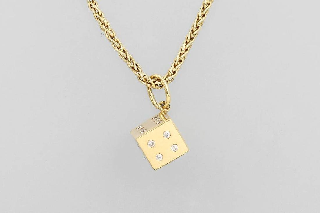 18 kt gold pendant 'cube' with brilliants