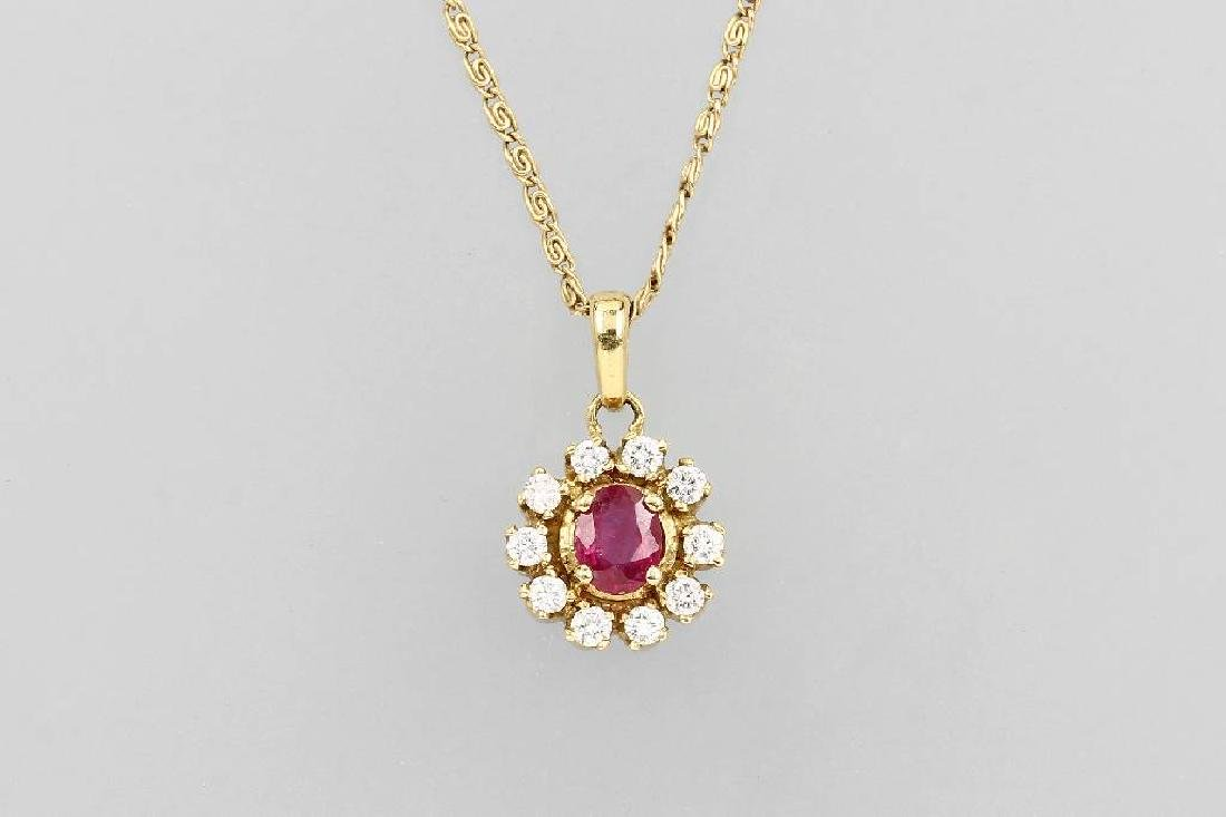 18 kt gold pendant with ruby and brilliants