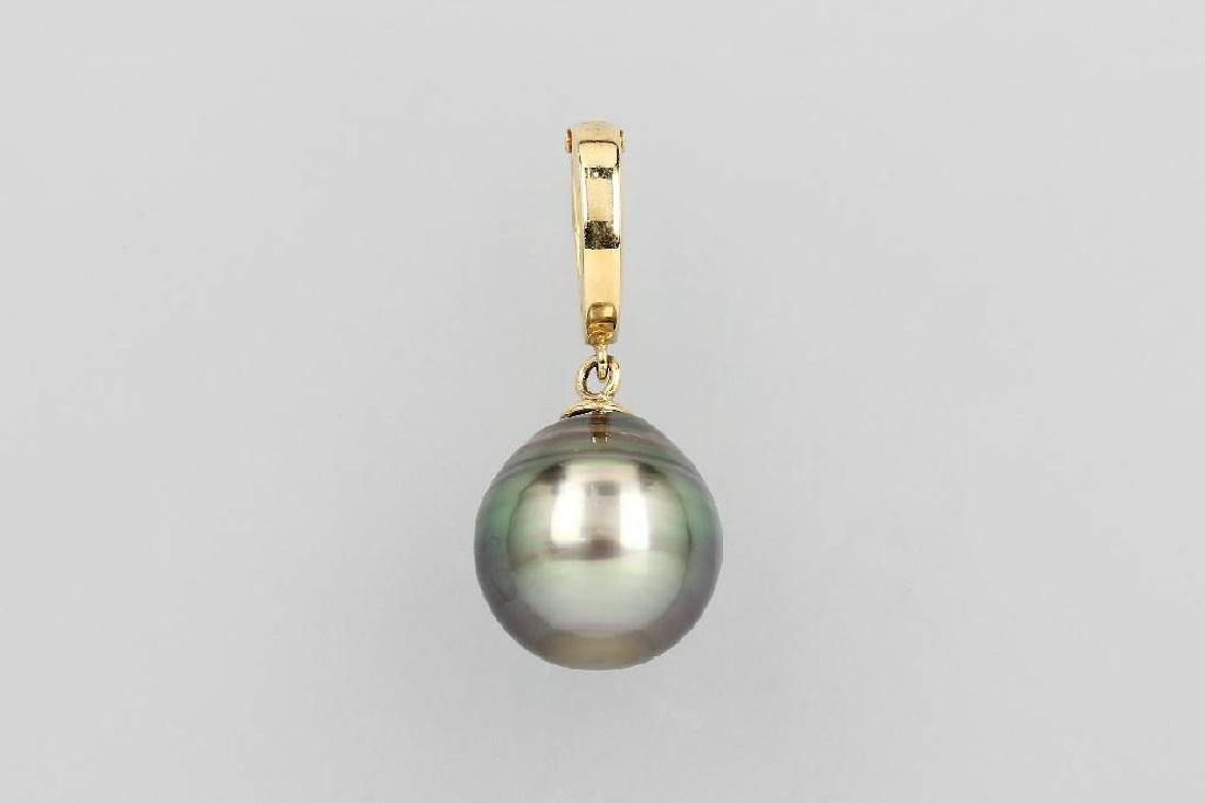 14 kt gold pendant with cultured tahitian pearl