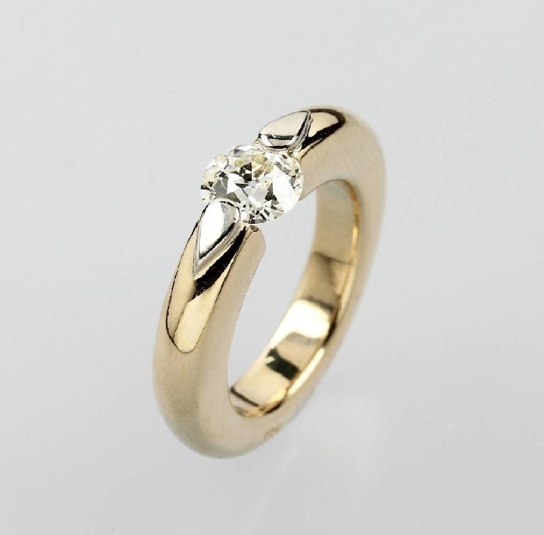 14 kt gold tension ring with diamond