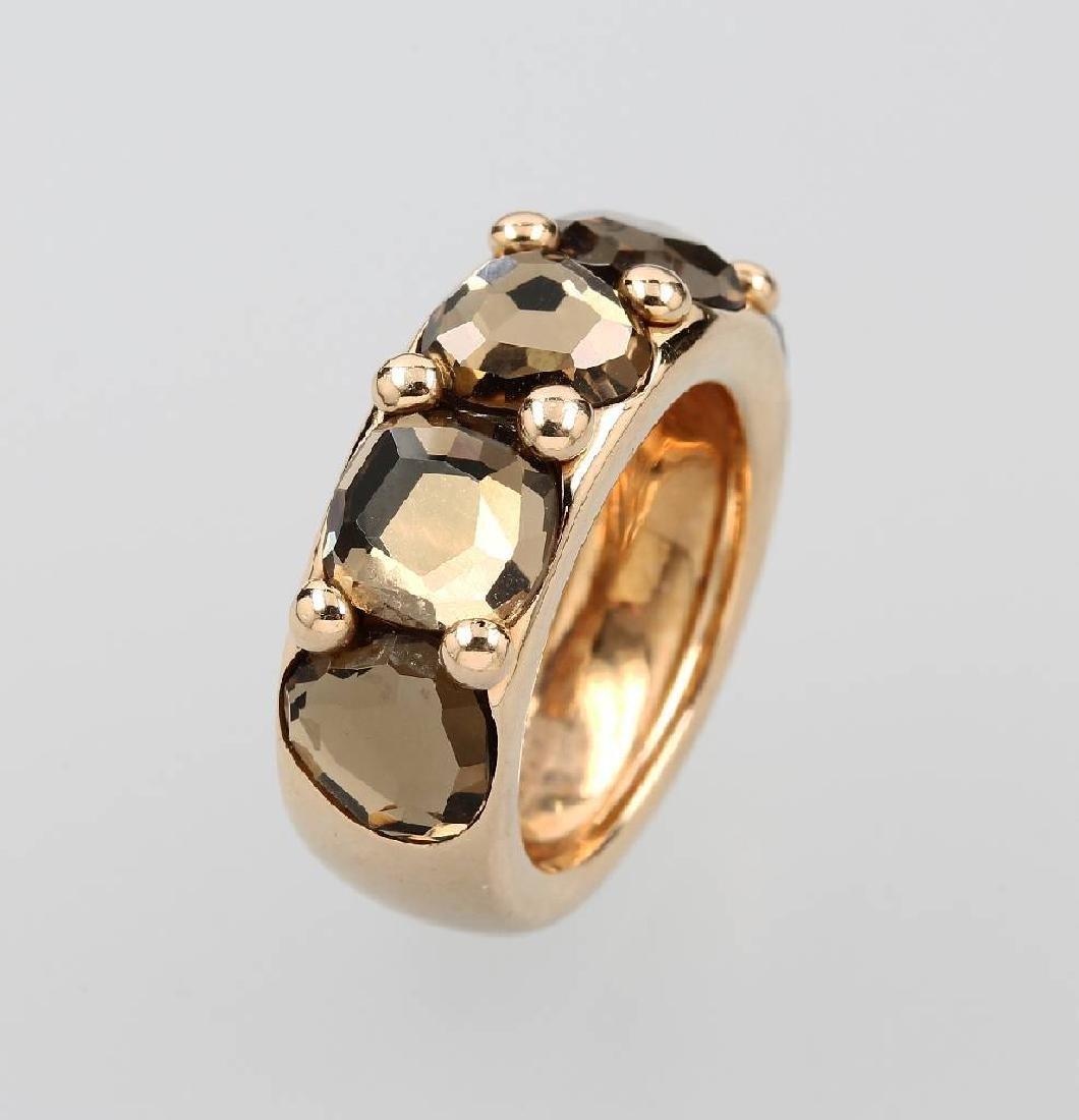 18 kt gold POMELLATO ring with prasiolites