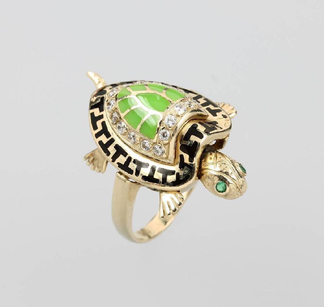 14 kt gold ring tortoise with enamel