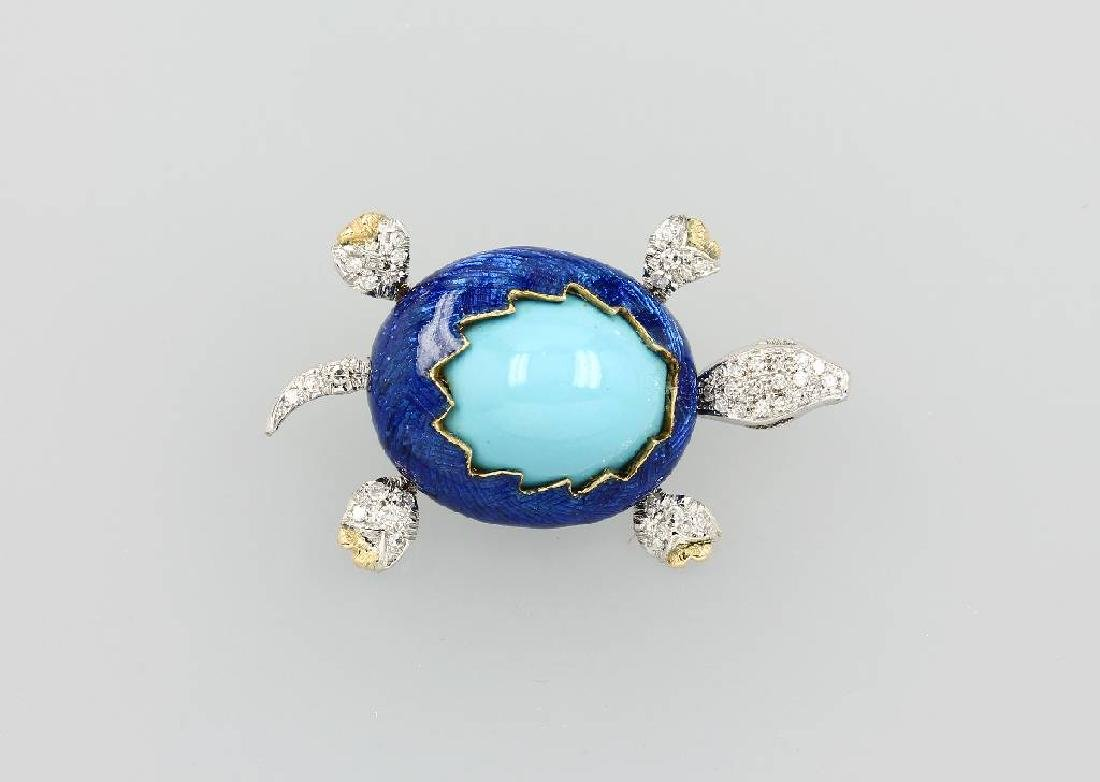 18 kt gold brooch with turquoise, enamel and brilliants