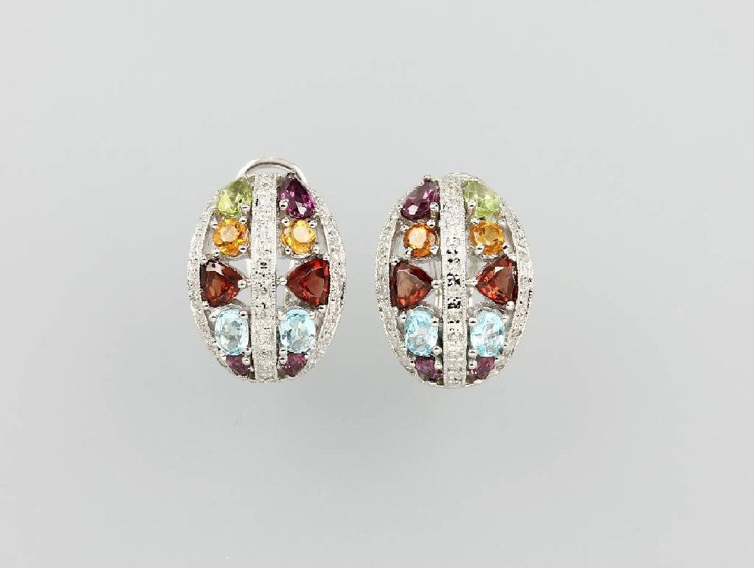 Pair of 18 kt gold earrings with coloured stones and