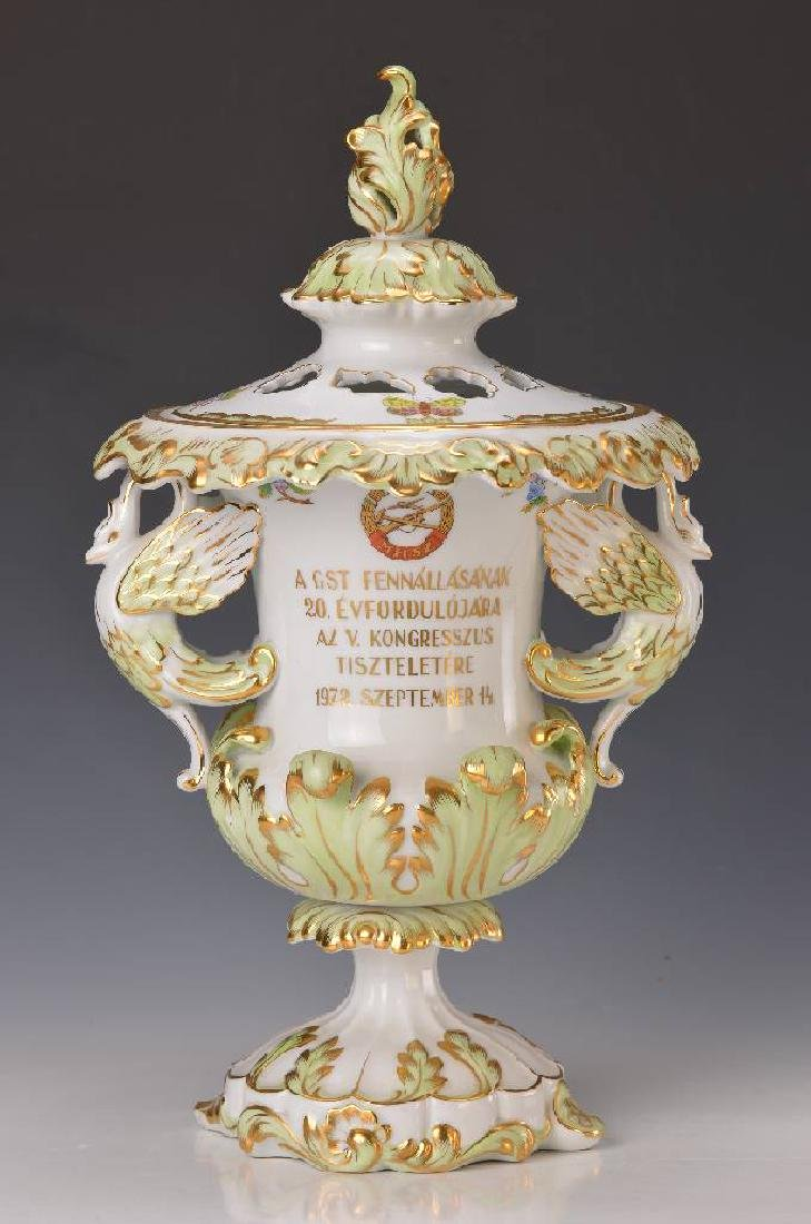 large pompous lidded vase