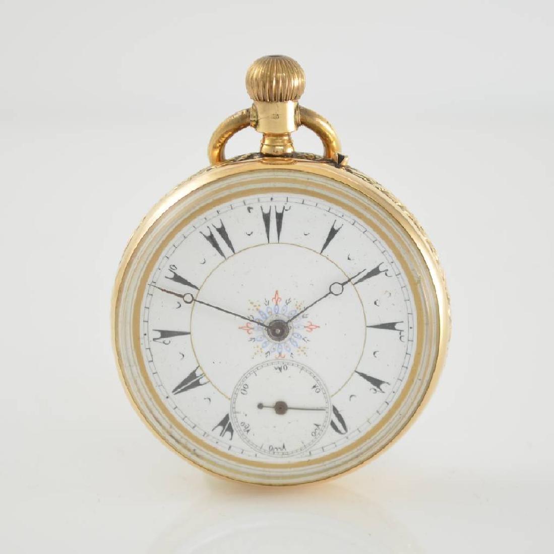 Open face 14k pink gold pocket watch