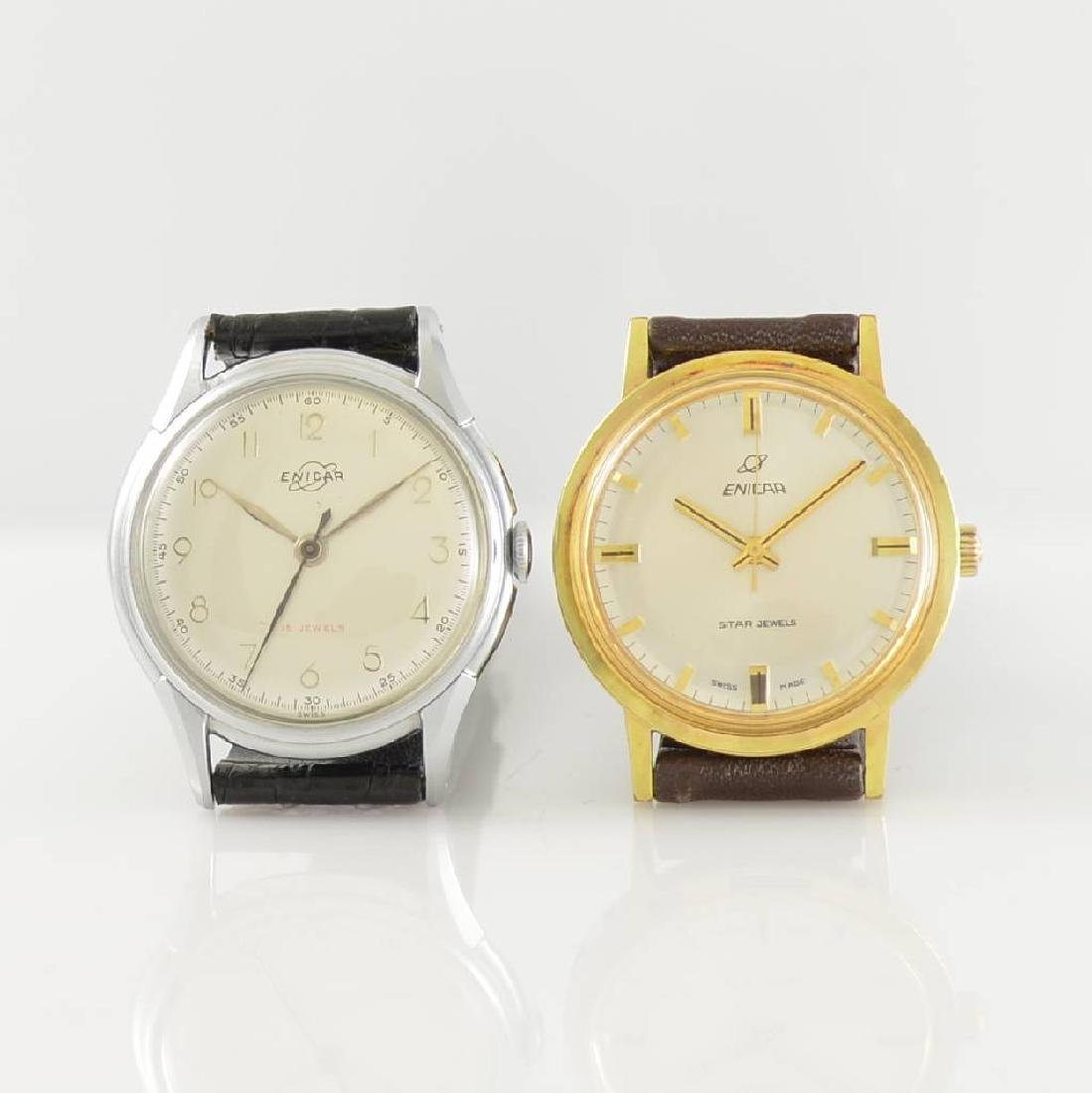 Set of 2 ENICAR gents wristwatches