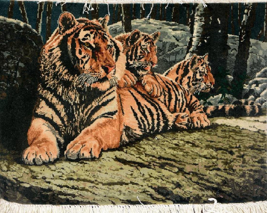 Fine Tabriz 'Pictorial Rug' (Tiger Family) '50RAJ),