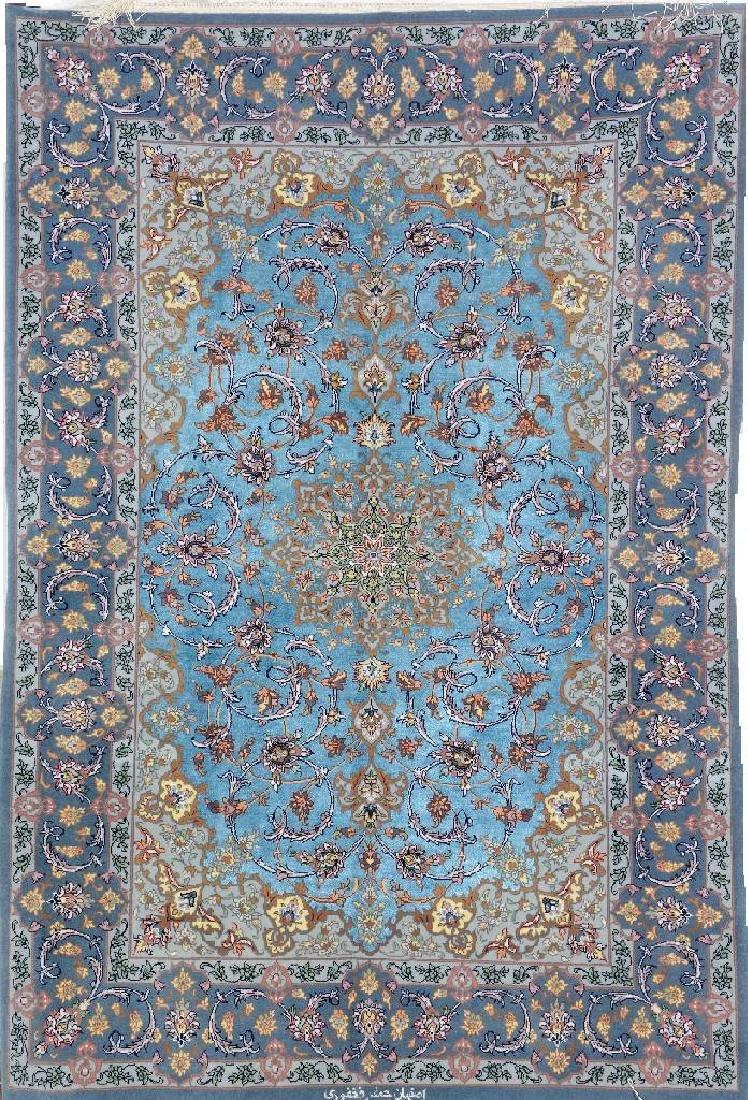 Fine Silk Ground Isfahan 'Jafar Fakhfouri' Rug(Signed)