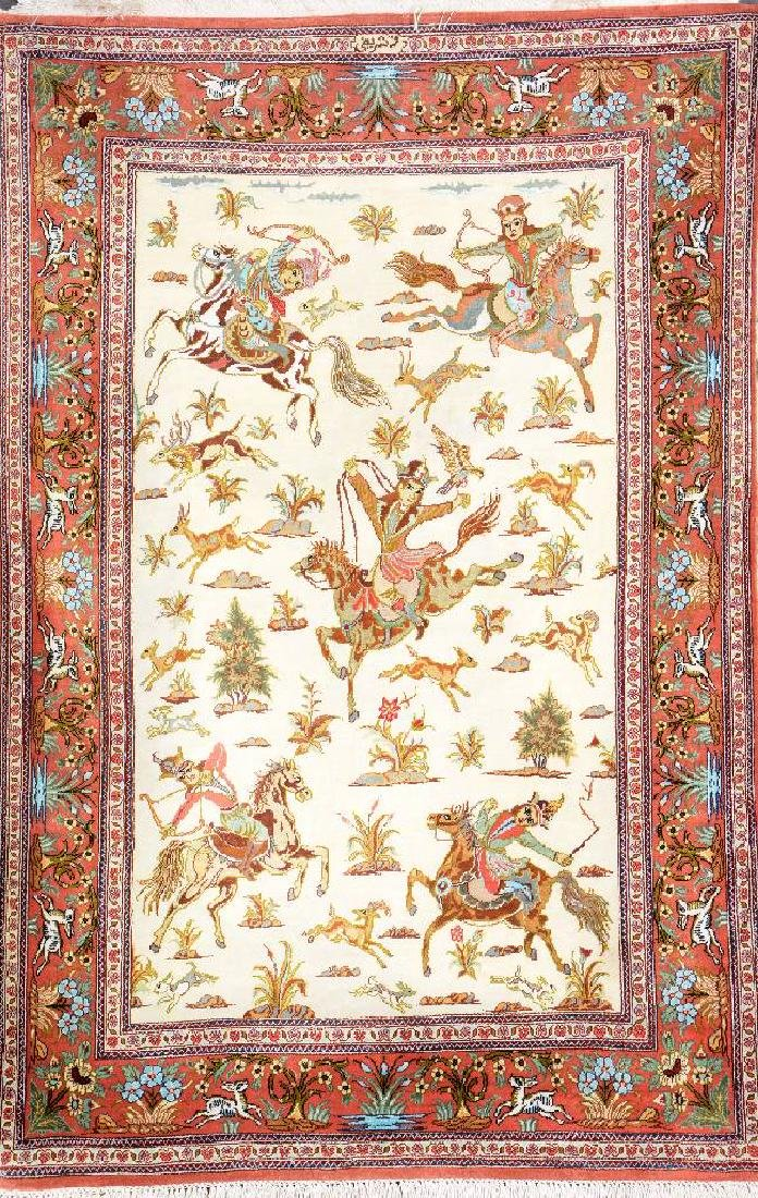 Fine Silk Qum 'Sharifi' Rug (Signed) 'Hunting Design',