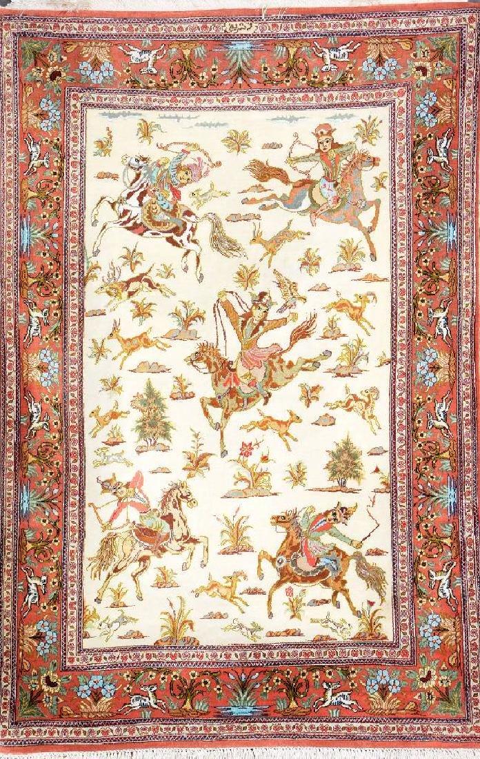 Fine Silk Qum 'Sharifi' Rug (Signed) 'Hunting Design',
