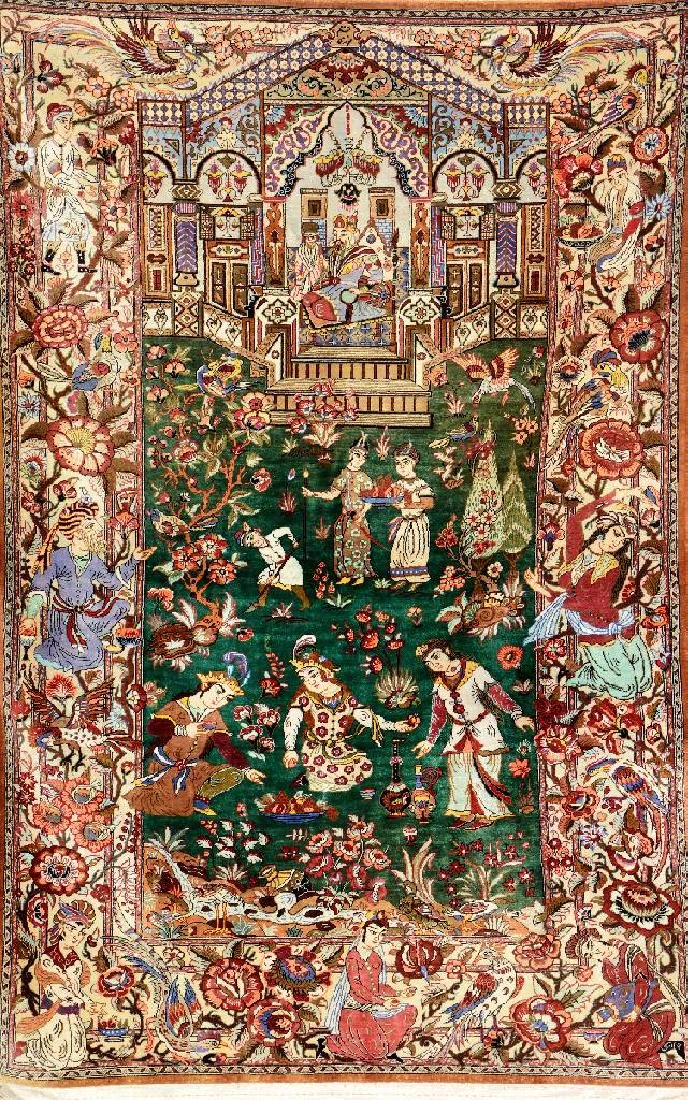 Green Ground Silk Qum (Signed) 'Pictorial Rug'(Love