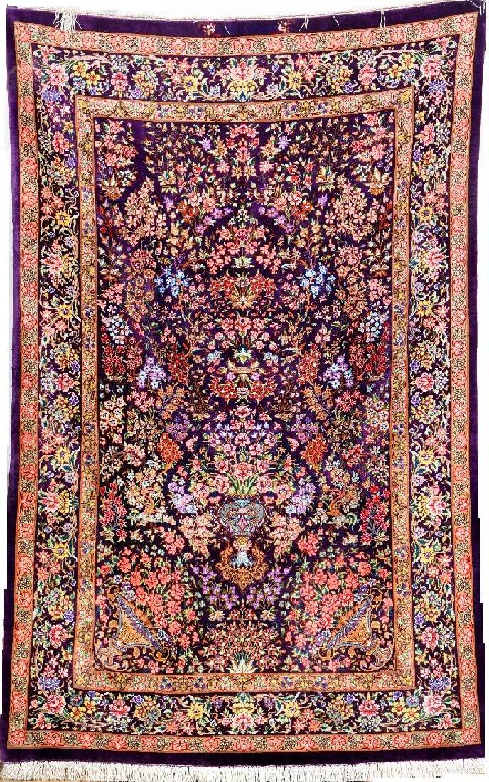 Very Fine Unusual Silk Qum 'Samiei' Rug (Signed) 'With
