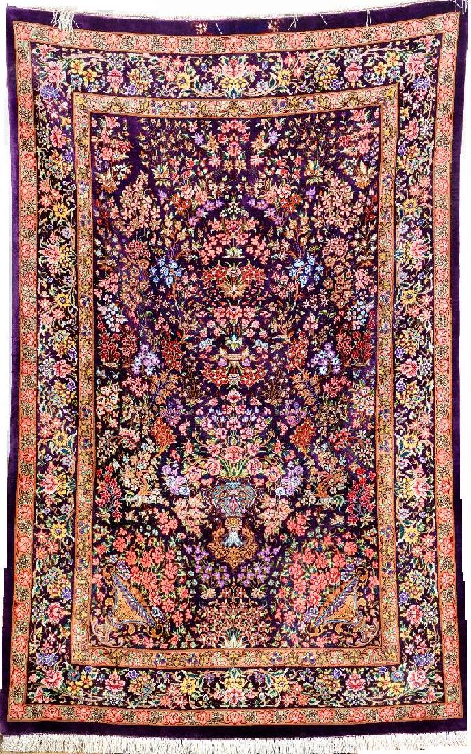 Very Fine Unusual Silk Qum 'Samiei' Rug (Signed) 'With