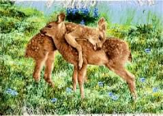 Fine Tabriz PartSilk Pictorial Rug Bambi Kids